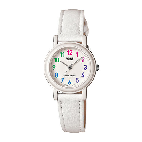 Casio® Womens White Leather Strap Watch LQ139L-7BOS