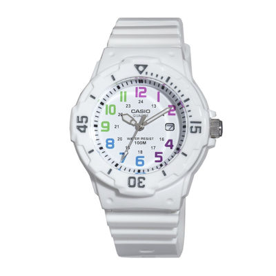 Casio® Womens White Resin Strap Diver Sport Watch LRW200H-7BV