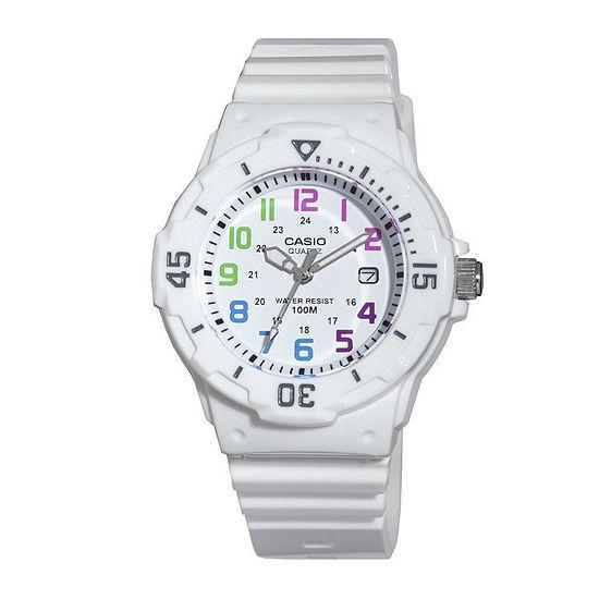 Casio® Womens White Resin Strap Diver Sport Watch LRW200H-7BV