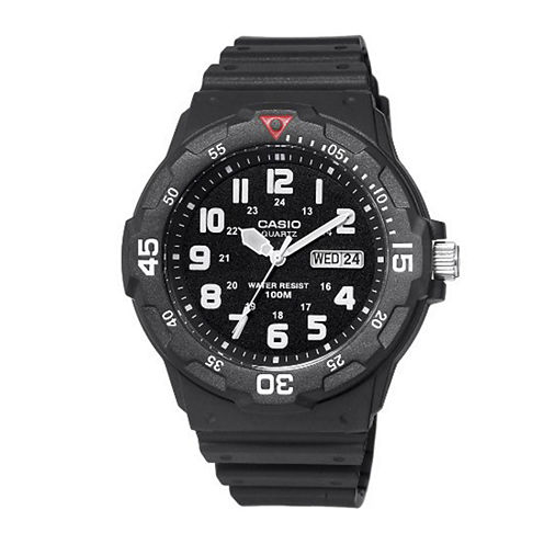 Casio® Mens Black Resin Strap Diver Sport Watch MRW200H-1BV