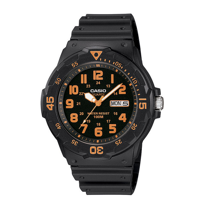 Casio Mens Black Resin Strap Diver Sport Watch MRW200H-4BV