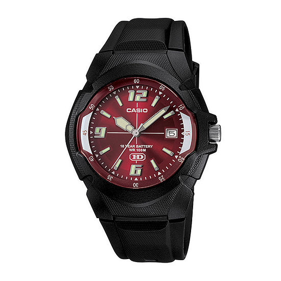 Casio® Mens Red Dial Black Resin Strap Sport Watch MW600F-4AVOS