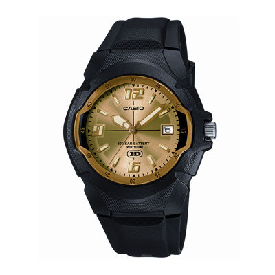 Casio® Mens Champagne Dial Black Resin Strap Sport Watch MW600F-9AV