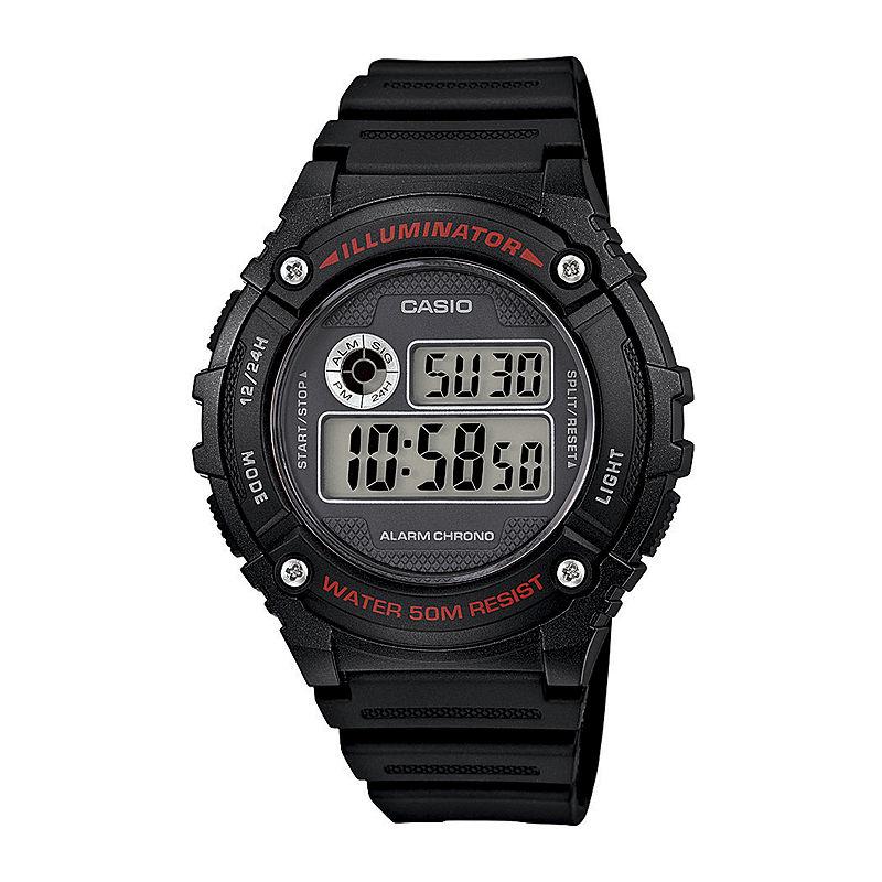 Casio Illuminator Mens Black Bezel Black Resin Strap Digital Watch W216H-1AV