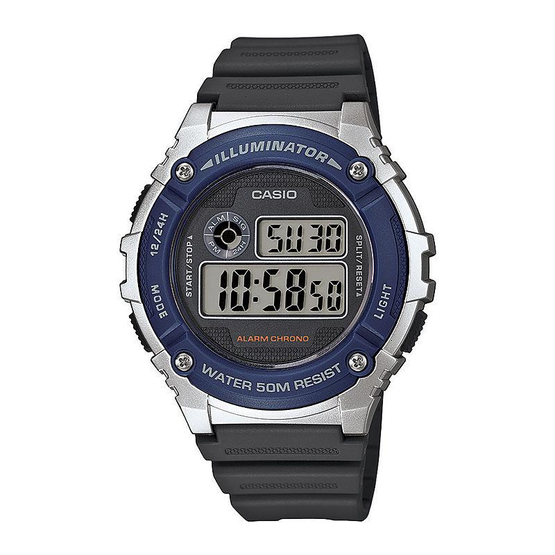 Casio Illuminator Mens Blue Bezel Black Resin Strap Digital Watch W216H-2AV