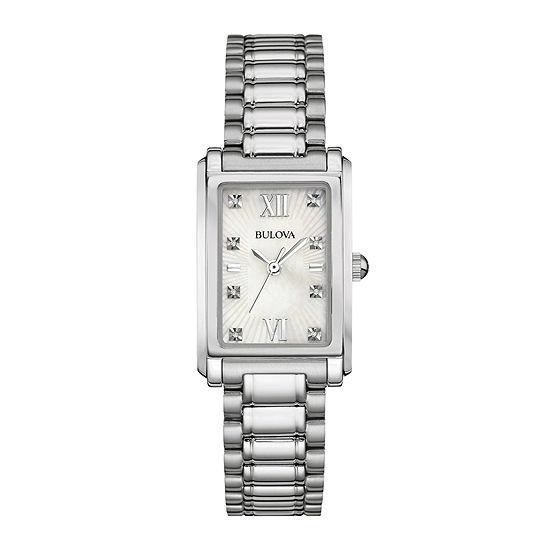 Bulova Womens Silver Tone Stainless Steel Bracelet Watch-96p157