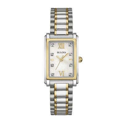 Bulova® Diamond Womens Diamond-Accent Two-Tone Stainless Steel Watch 98P144