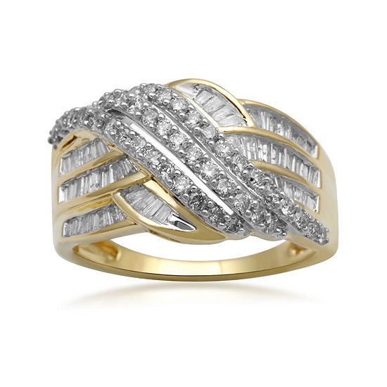 1 CT. T.W. Diamond 10K Yellow Gold Crossover Cocktail Ring