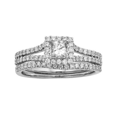 1 CT. T.W. Certified Diamond 14K White Gold Bridal Ring Set