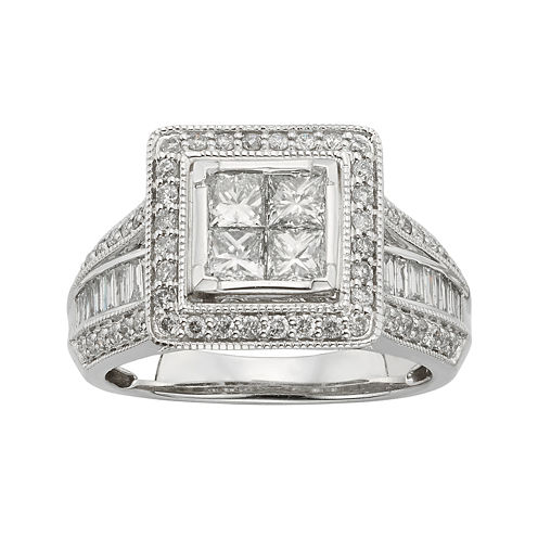 1½ CT. T.W. Diamond 10K White Gold Multi-Top Bridal Ring