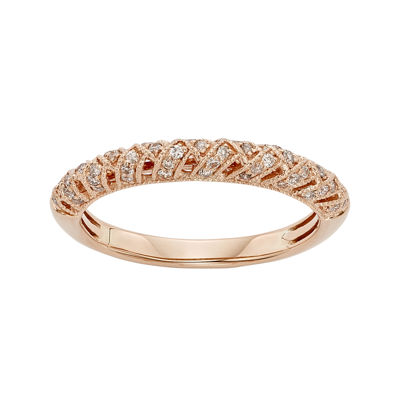 1/4 CT. T.W. Certified Diamond 14K Rose Gold Crossover Wedding Band