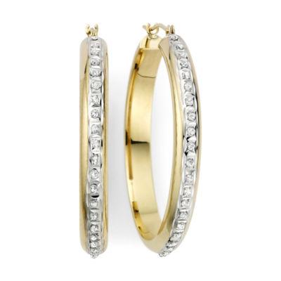 Diamond Fascination™ 14K Yellow Gold Flat Hoop Earrings