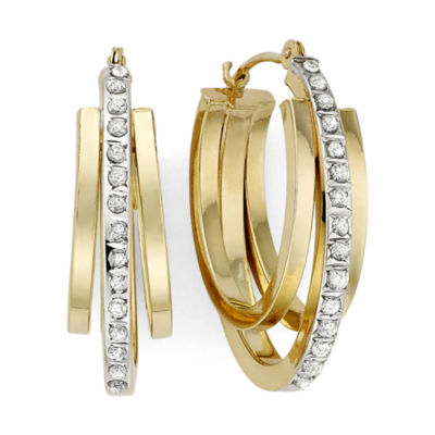 Diamond Fascination™ 14K Yellow Gold Triple Oval Hoop Earrings