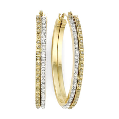 Diamond Fascination™ 14K Two-Tone Gold Double Oval Hoop Earrings