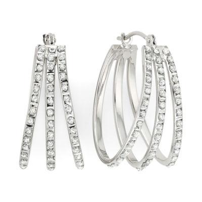Diamond Fascination™ 14K White Gold Triple Fan Hoop Earrings