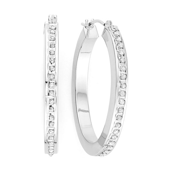 Diamond Fascination™ 14K White Gold Round Hoop Earrings