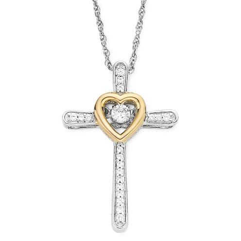DiamonArt® Cubic Zirconia Dancing Cross Pendant Necklace