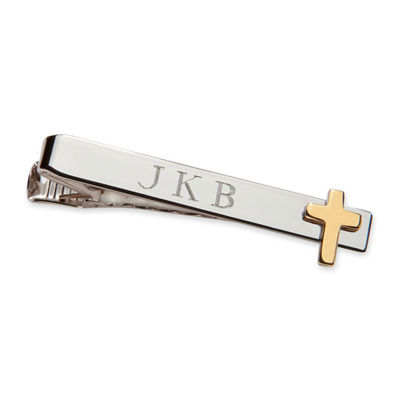 Personalized Tie Bar w/ Gold-Tone Cross