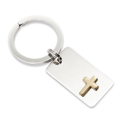 Personalized Key Ring with Gold-Tone Cross