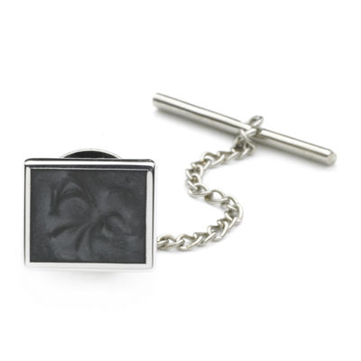 Tie Tack with Gray Swirl Enamel Center