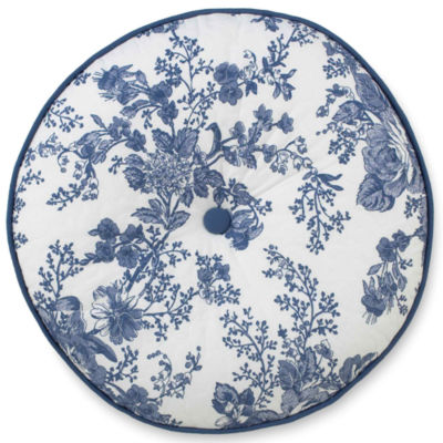 Toile Garden Round Decorative Pillow