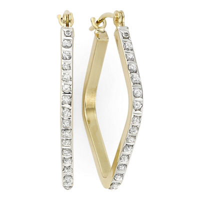 Diamond Fascination™ 14K Yellow Gold Geometric Hoop Earrings