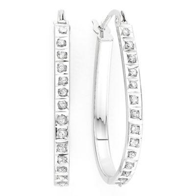 Diamond Fascination™ Sterling Silver Teardrop Hoop Earrings