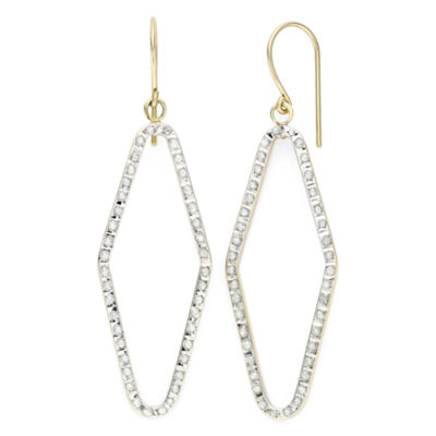 Diamond Fascination™ 14K Yellow Gold Open Geometric Drop Earrings