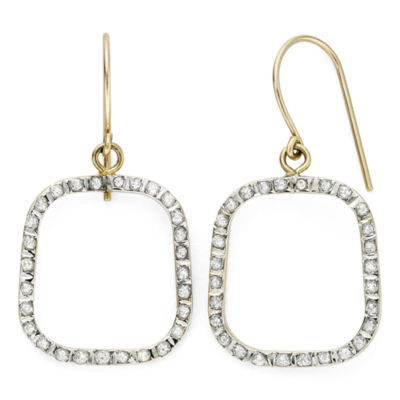 Diamond Fascination™ 14K Yellow Gold Open Square Earrings