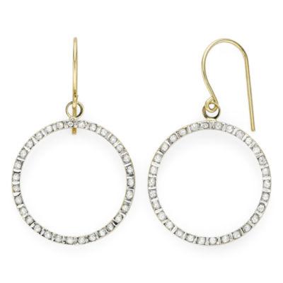 Diamond Fascination™ 14K Yellow Gold Open Circle Earrings