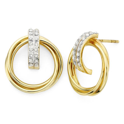 Diamond Fascination™ 18K Yellow Gold Over Sterling Silver Doorknocker Earrings