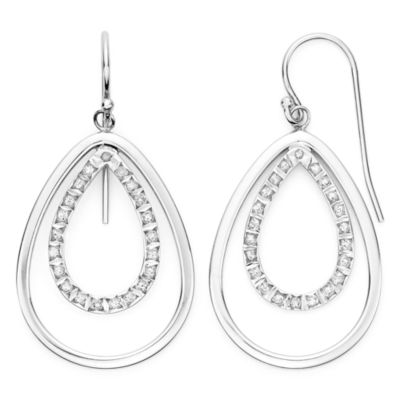 Diamond Fascination™ Sterling Silver Double Teardrop Earrings