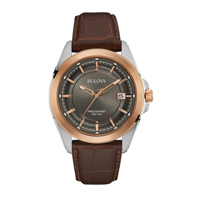 Bulova® UHF Precisionist Mens Brown Leather Strap Watch 98B267