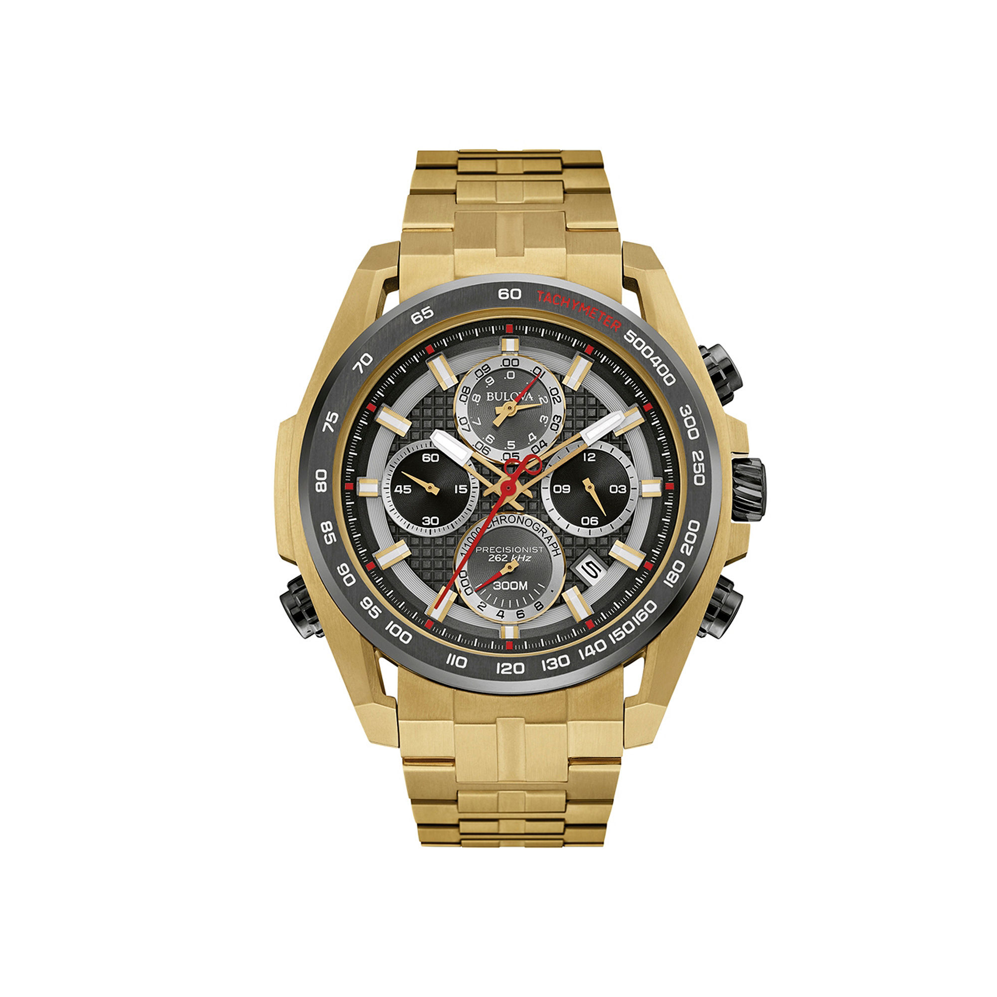 Bulova UHF Precisionist Mens Gold-Tone Stainless Steel Chronograph Watch 98B271