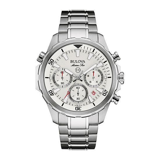 Bulova Marine Star Mens Chronograph Silver Tone Stainless Steel Bracelet Watch-96b255