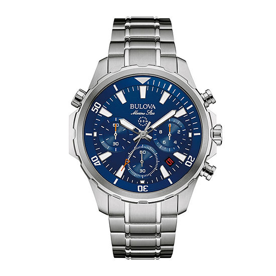 Bulova Marine Star Mens Chronograph Silver Tone Stainless Steel Bracelet Watch-96b256