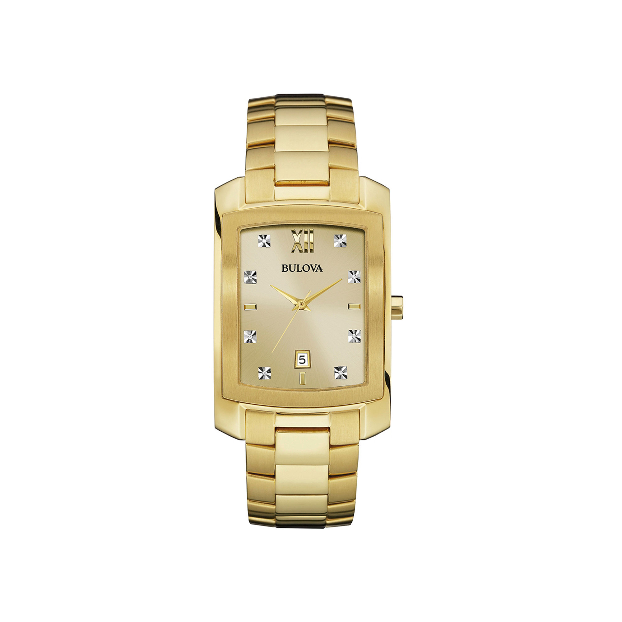 Bulova Diamonds Mens Diamond-Accent Rectangular Gold-Tone Stainless Steel Watch 97D107
