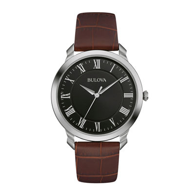 Bulova® Classic Mens Brown Leather Strap Watch 96A184