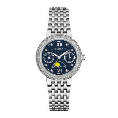 Bulova® Diamonds Womens Diamond-Accent Moon Phase Stainless Steel Bracelet Watch 96R210