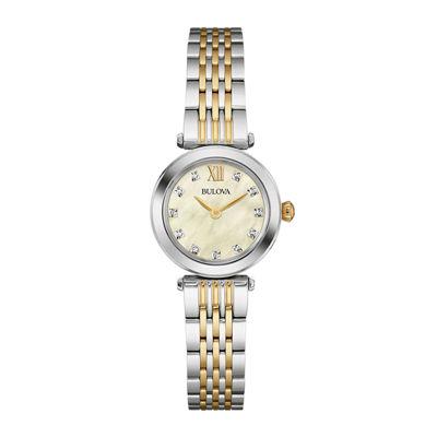 Bulova® Womens Diamond-Accent Two-Tone Stainless Steel Bracelet Watch 98P154