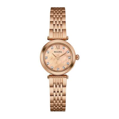Bulova® Womens Diamond-Accent Rose-Tone Stainless Steel Bracelet Watch 97P116