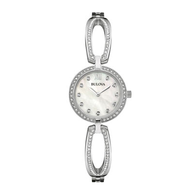 Bulova® Womens Crystal-Accent Mother-of-Pearl Stainless Steel Bracelet Watch