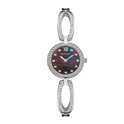 Bulova® Womens Crystal Black Mother-of-Pearl Stainless Steel Bracelet Watch