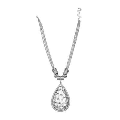 Bold Elements™ Silver-Tone Hammered Teardrop Pendant Necklace