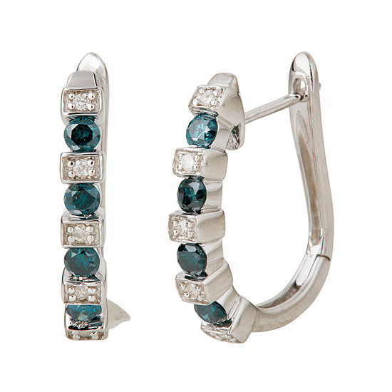 LIMITED QUANTITIES 1/2 CT. T.W. White and Color-Enhanced Blue Diamond Hoop Earrings