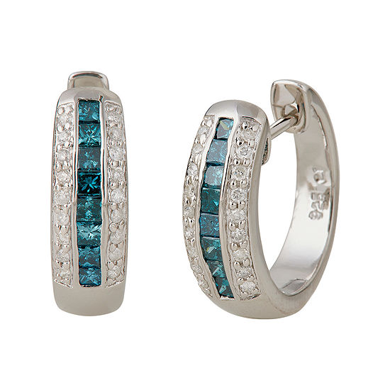 LIMITED QUANTITIES 7/8 CT. T.W. White and Color-Enhanced Blue Diamond Hoop Earrings
