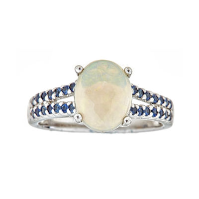 LIMITED QUANTITIES  Genuine Opal and Blue Sapphire Sterling Silver Ring