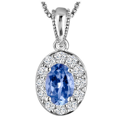 Genuine Tanzanite and Lab-Created White Sapphire Sterling Silver Pendant Necklace