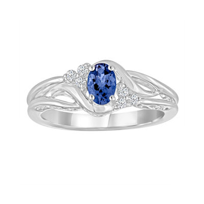 Genuine Tanzanite and Lab-Created White Sapphire Sterling Silver Ring