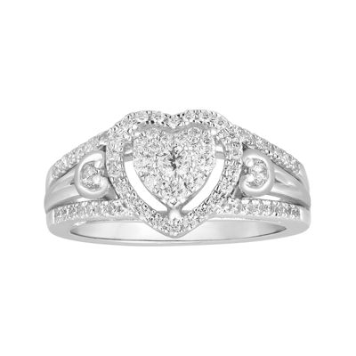 I Said Yes™ 1/2 CT. T.W. Diamond Heart-Shaped 10K White Gold Bridal Ring